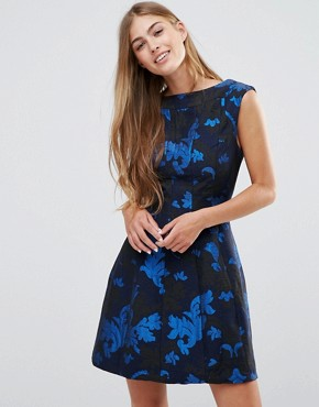 photo Skater Dress In Jacquard by See U Soon, color Blue - Image 1