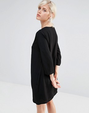 photo Shift Dress with Deep V and Embroidered Panel by See U Soon, color Black - Image 2