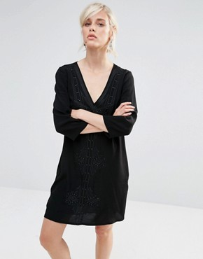 photo Shift Dress with Deep V and Embroidered Panel by See U Soon, color Black - Image 1