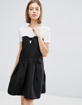 photo Skater Dress with Cut Out Front by See U Soon, color Black - Image 1