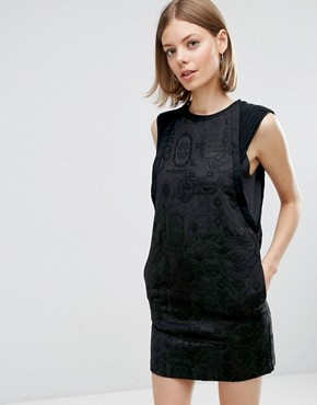 photo Shift Dress In Jacquard with Piping Detail by See U Soon, color Black - Image 1