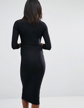 photo Roll Neck Bodycon Dress by Isabella Oliver, color Black - Image 2