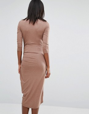 photo Midi Dress with Wrap Skirt by Isabella Oliver, color Beige - Image 2
