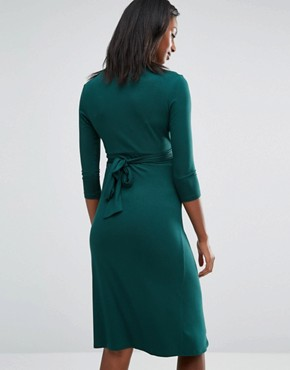 photo Wrap Front Midi Dress by Isabella Oliver, color Green - Image 2