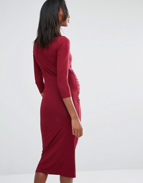 photo Roll Neck Bodycon Dress by Isabella Oliver, color Red - Image 2