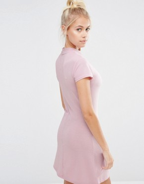 photo High Neck Mini Dress with Pom Face In Sparkly Glitter by Lazy Oaf, color Pink - Image 2