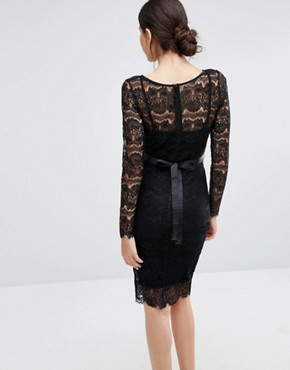 photo Sylvie Sculpting Lace Dress by Body Frock, color Black - Image 2