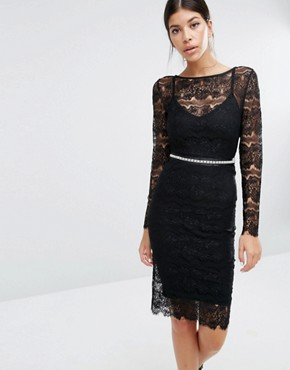 photo Sylvie Sculpting Lace Dress by Body Frock, color Black - Image 1