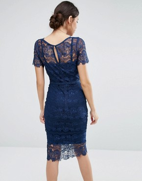photo Lisa Sculpting Lace Dress by Body Frock, color Navy - Image 2