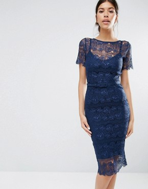 photo Lisa Sculpting Lace Dress by Body Frock, color Navy - Image 1