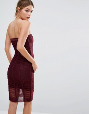 photo Forget Me Not Ruched Bandeau Dress by Body Frock, color Burgundy - Image 2