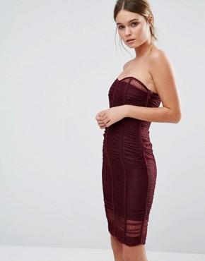 photo Forget Me Not Ruched Bandeau Dress by Body Frock, color Burgundy - Image 1