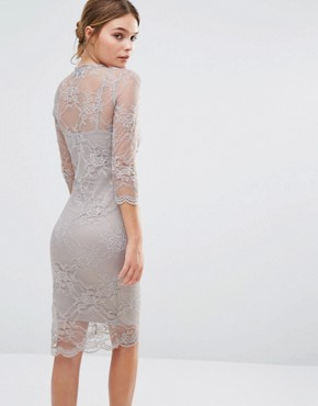 photo Fifi Sculpting Dress in Lace with Ruffle by Body Frock, color Taupe - Image 2