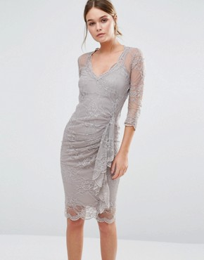 photo Fifi Sculpting Dress in Lace with Ruffle by Body Frock, color Taupe - Image 1