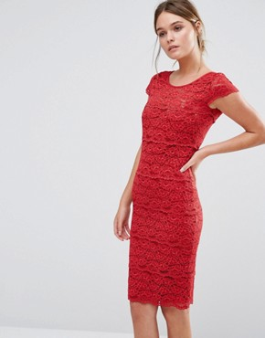 photo Jasmine Sculpting Lace Dress by Body Frock, color Red - Image 1