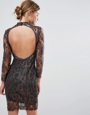 photo Leah Sculpting Dress with Metallic lace by Body Frock, color Bronze - Image 2