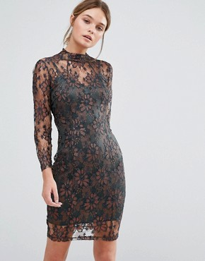 photo Leah Sculpting Dress with Metallic lace by Body Frock, color Bronze - Image 1