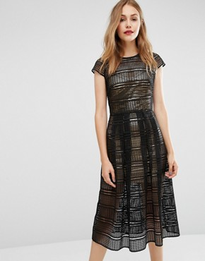 photo Sculpting Dress in Lace with Gold Metallic Slip by Body Frock, color Gold/Jet - Image 1