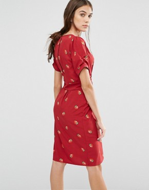 photo Dip and Dazzle Strawberry Print Dress by Trollied Dolly, color Purple - Image 2