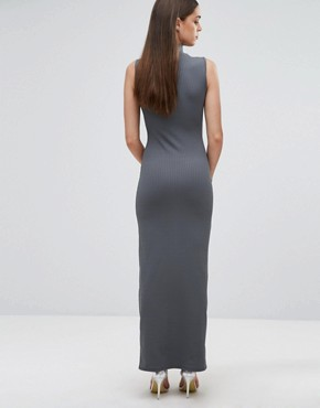photo Knitted High Neck Rib Maxi Dress by Club L, color Stella Grey - Image 2