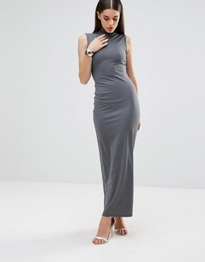 photo Knitted High Neck Rib Maxi Dress by Club L, color Stella Grey - Image 1