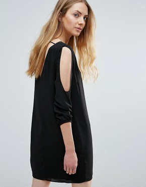photo Vira Open Sleeve Beaded Shift Dress by Greylin, color Black - Image 2