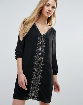 photo Vira Open Sleeve Beaded Shift Dress by Greylin, color Black - Image 1