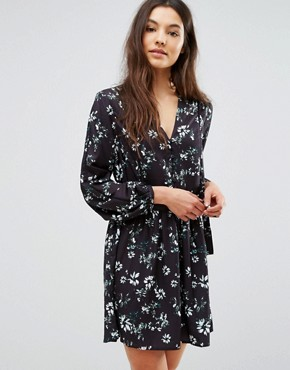 photo Benson Side Tie Floral Dress by Greylin, color Black - Image 1