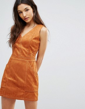photo Jordan Faux Suede Dress by Greylin, color Honey - Image 1