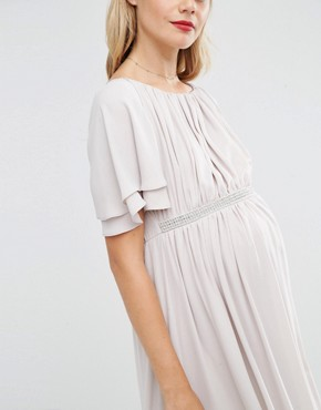 photo Flutter Sleeve Maxi Dress With Embellished Waist Trim by ASOS Maternity, color Mink - Image 2