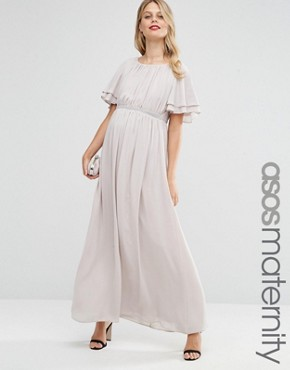 photo Flutter Sleeve Maxi Dress With Embellished Waist Trim by ASOS Maternity, color Mink - Image 1