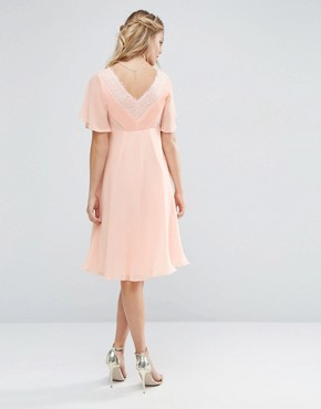 photo Lace and Pleat Midi Dress by ASOS Maternity WEDDING, color Nude - Image 2