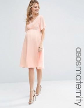 photo Lace and Pleat Midi Dress by ASOS Maternity WEDDING, color Nude - Image 1