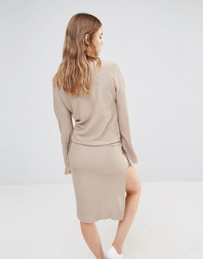photo Split Sleeve Rib Dress with Tie Front by House of Sunny, color Stone - Image 2