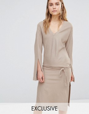 photo Split Sleeve Rib Dress with Tie Front by House of Sunny, color Stone - Image 1