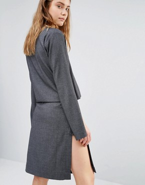photo Split Sleeve Rib Dress with Tie Front by House of Sunny, color Grey - Image 2