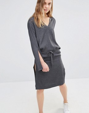 photo Split Sleeve Rib Dress with Tie Front by House of Sunny, color Grey - Image 1
