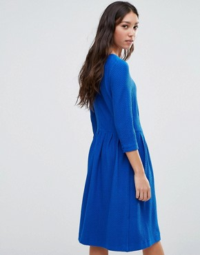 photo Long Sleeve Dress with Pleat Waist Detail by Ganni, color Black - Image 2