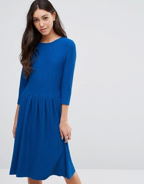 photo Long Sleeve Dress with Pleat Waist Detail by Ganni, color Black - Image 1