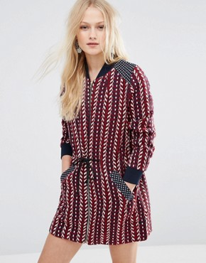 photo Zip Front Printed Dress by Hazel, color Burgundy - Image 1