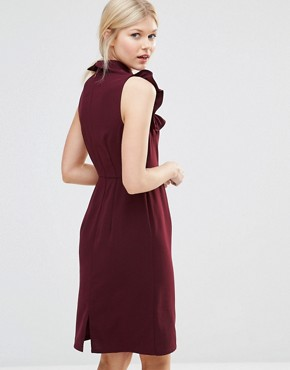 photo Pencil Dress with Frill Bib by Alter Petite, color Burgandy - Image 2