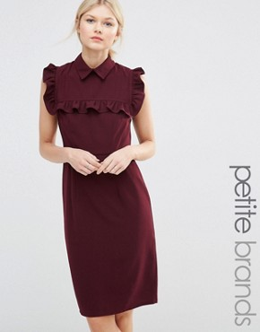 photo Pencil Dress with Frill Bib by Alter Petite, color Burgandy - Image 1
