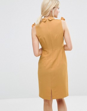 photo Pencil Dress with Frill Bib by Alter Petite, color Yellow - Image 2