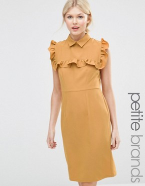 photo Pencil Dress with Frill Bib by Alter Petite, color Yellow - Image 1
