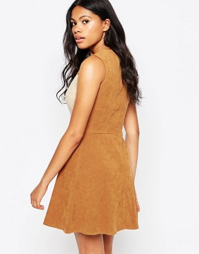 photo Suede Colour Shift Dress by Love, color Brown - Image 2