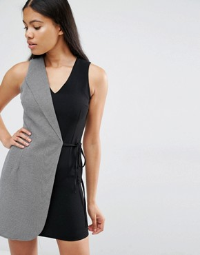 photo Two Tone Tailored Wrap Dress by Love, color Black/Grey - Image 1