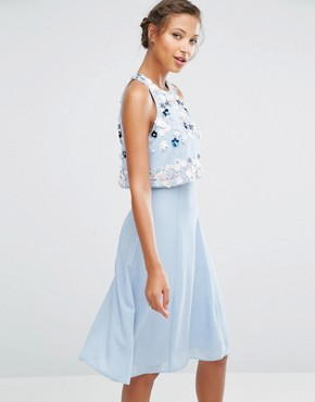 photo Multi Cluster 3D Floral Crop Top Midi Dress by ASOS TALL, color Blue - Image 2