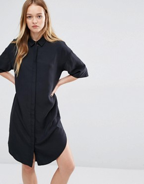 photo Cupro Shirt Dress by Native Youth, color Black - Image 1