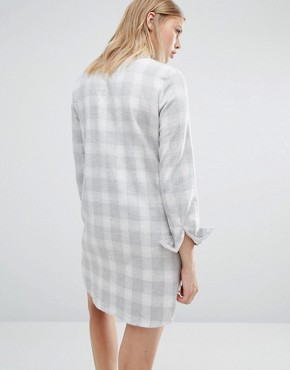 photo Boxy Shirt Dress Light Check by Native Youth, color Grey - Image 2