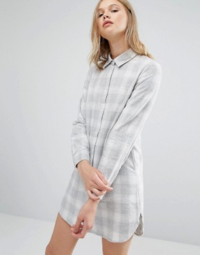 photo Boxy Shirt Dress Light Check by Native Youth, color Grey - Image 1